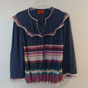 VINTAGE MISSONI STRIPED TIE NECK RUFFLE SWEATER